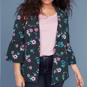 NWT Lane Bryant Green Floral Button Blazer